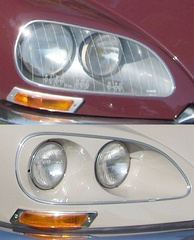European (top) and US (bottom) headlamp configurations on a Citroën DS