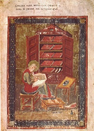 The Codex Amiatinus anachronistically depicts the Biblical Ezra with the kind of books used in the 8th Century AD.