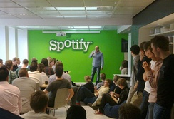 Daniel Ek addressing Spotify staff