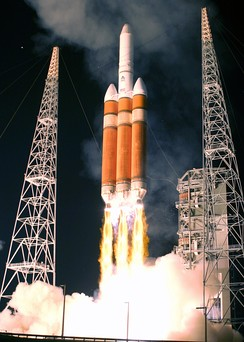 Launch of an Air Force Delta IV heavy rocket carrying a DSP-23 early warning satellite