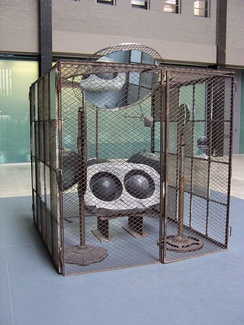 Sculpture by Bourgeois in the Domestic Incidents group exhibit at London's Tate Modern Turbine Hall, 2006