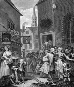 William Hogarth's engraving Four Times of the Day: Noon (1738) shows a black London resident (on the left).