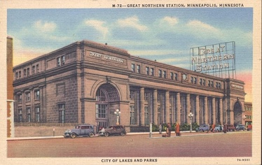 Great Northern Station, Minneapolis, Minnesota, which also served the Northern Pacific Railway. This historic depot was razed in 1978.