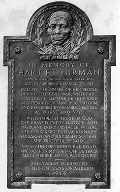 Tubman's commemorative plaque in Auburn, New York, erected 1914