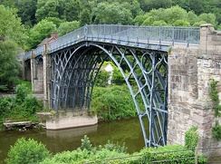 The Iron Bridge, Shropshire, England, the world's first bridge constructed of iron opened in 1781.[49]