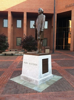 John Hanson memorial statue at Frederick, Maryland courthouse