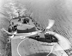 The first XH-51A landing on USS Ozbourn (DD-846).