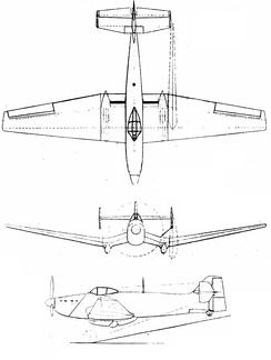 Loire Nieuport LN-40 3-view drawing from L'Aerophile August 1943