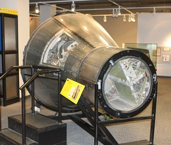 Mercury spacecraft # 9, used in the Mercury-Atlas 5 mission, on display at the Museum of Life and Science, in Durham, North Carolina.[3]