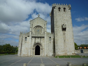 Church and tower of the monastery in Leça do Balio where King Ferdinand ad Leonor were married in 1372