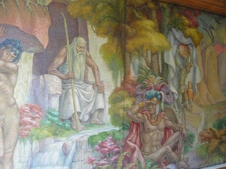 Detail of the mural in the lobby of Hotel Tequendama, Bogotá; showing a seated Bochica and various other deities of the Muisca religion