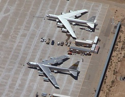 NASA's NB-52B Balls 8 (lower) and its replacement B-52H on the flight line at Edwards Air Force Base in 2004