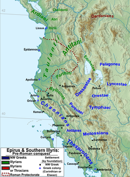 Epirus and south Illyris: north-western Greek (blue) and Illyrian tribes (green).