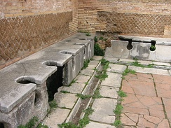 Roman public latrine found in the excavations of Ostia Antica