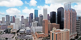 The downtown skyline of Houston.