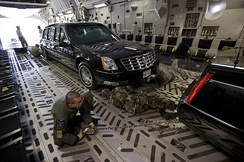The U.S. Presidential Limousine is transported by a C-17 for long-distance trips.