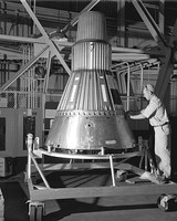 Spacecraft #2 in an unfinished state at Lewis Hangar in 1959.