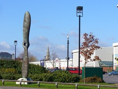 Propeller sculpture located on the site of the General Aircraft Ltd (GAL) factory at Hanworth Air Park, looking north
