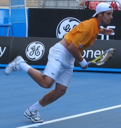 Richard Gasquet in the first round at the 2008 Australian Open