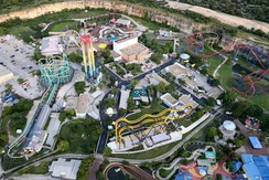 Aerial view of Six Flags Fiesta Texas