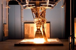 The Merlin 1D engine, SpaceX's most prolific engine, undergoing testing at SpaceX's Rocket Development and Test Facility in McGregor, Texas