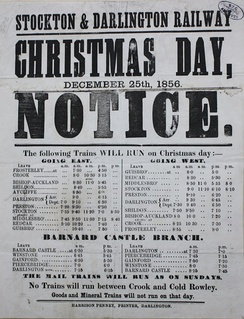 Christmas Day timetable for 1856