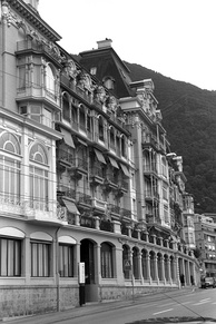 "Grand Hôtel de Territet outside Montreux where Machine Head – excluding ""Smoke on the Water"" – was recorded in December 1971"