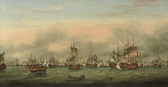 Battle of the Saintes by Thomas Mitchell. This 1782 battle between the British and French navies took place near Guadeloupe.