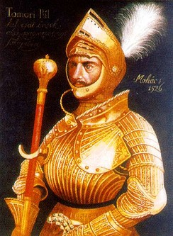 General Pál Tomori, the captain of the army, in his golden renaissance armour (1526)