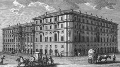 The headquarters of the Propaganda fide in Rome, North facade on Piazza di Spagna by architect Bernini, the southwest facade seen here by Borromini: etching by Giuseppe Vasi, 1761[32]