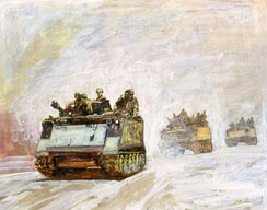 APC by David E. Graves, Vietnam Combat Artists Program, CAT IX, 1969-70. Courtesy of the National Museum of the U.S. Army.