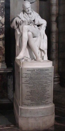 Wilberforce was buried in Westminster Abbey next to Pitt. This memorial statue, by Samuel Joseph (1791–1850), was erected in 1840 in the north choir aisle.