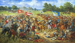 The Battle of Grunwald between Poland-Lithuania and the Teutonic Knights in 1410