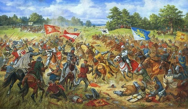 Banners of the Kingdom of Poland and Lwów Land during the battle.