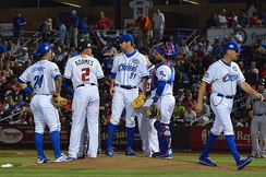 2015 PCL All-Stars meeting on the pitcher's mound