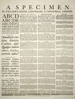 A Specimen of typefaces and styles, by William Caslon, letter founder; from the 1728 Cyclopaedia