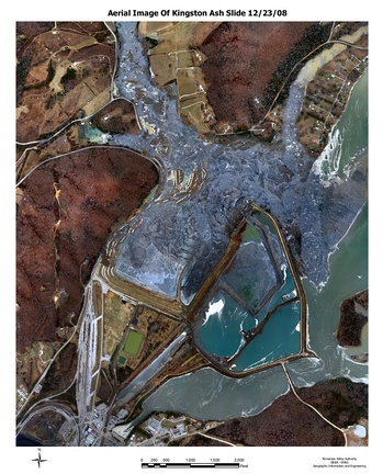 Aerial photo of pollution caused by leaking sludge storage pond