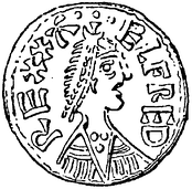 Drawing of a coin showing a portrait of Alfred the Great
