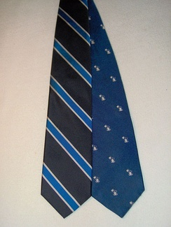 The two variants of the school tie for Phillips Academy
