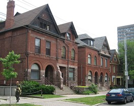 "A group of ""The Annex"" style houses, a style of house that was popular in Toronto in the late nineteenth century."