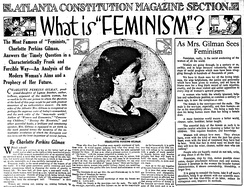 Charlotte Perkins Gilman (pictured) wrote these articles about feminism for the Atlanta Constitution, published on December 10, 1916.