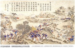 A scene of the Qing campaign against the Miao people in 1795.