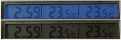 Views of a liquid crystal display, both with electroluminescent backlight switched on (top) and switched off (bottom)