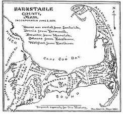 1890 Map of Barnstable County, Massachusetts showing the location and dates of incorporation of towns