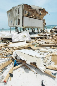 A beachfront home in Navarre Beach, Florida largely destroyed by Hurricane Dennis.