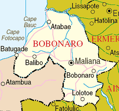 Map of East Timor's Bobonaro District, which lies on the border with Indonesian West Timor. Fighting continued in this region after the civil war, and several cities were captured by Indonesia prior to their full invasion.