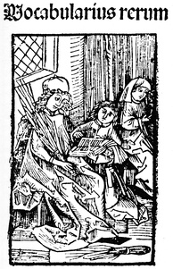 A teacher of a Latin school and two students, 1487