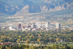The skyline of Colorado Springs with the Front Range in the background