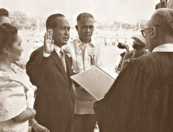 Carlos P. Garcia is sworn in as the 8th President of the Philippines after winning the election of 1957