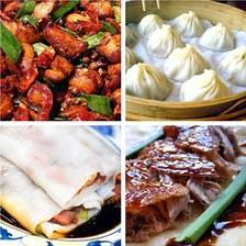 Foods from different regional cuisines: laziji from Sichuan cuisine; xiaolongbao from Jiangsu cuisine; rice noodle roll from Cantonese cuisine; and Peking duck from Shandong cuisine[589]